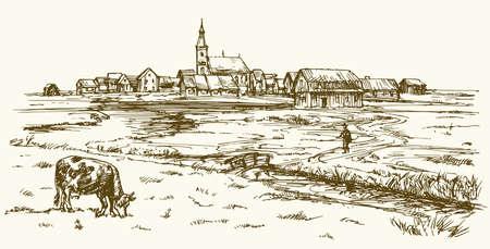 Kuh weiden auf Wiese, Landschaft mit ländlichen Dorf. Hand gezeichnet Illustration