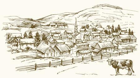 Paysage vintage, ferme de la Nouvelle-Angleterre, illustration vectorielle dessinée à la main. Banque d'images - 77580403