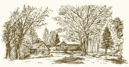 Vintage landscape, New England farm, hand drawn vector illustration.