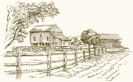 romance: Vintage landscape, New England farm, hand drawn vector illustration.