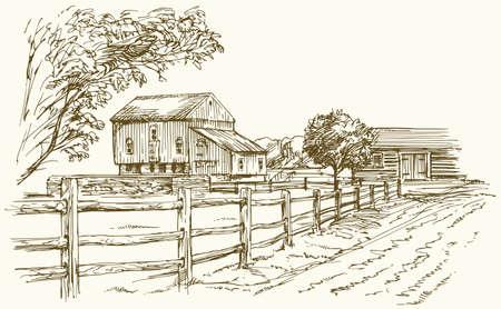 Vintage Landschaft, New England Farm, Hand gezeichnet Vektor-Illustration.