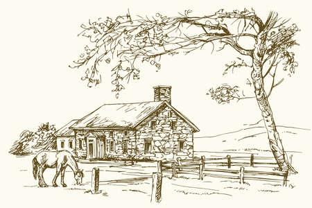 Opinión del vintage de la granja de Nueva Inglaterra con el caballo, ilustración drenada mano del vector.