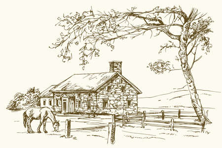 view: Vintage view of New England farm with horse, hand drawn vector illustration.