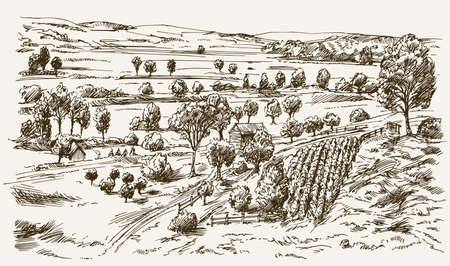 Vintage landscape, New England farm, hand drawn vector illustration.