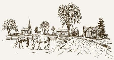 Vintage Blick auf New England Bauernhof mit Pferden, Hand gezeichnet Vektor-Illustration.