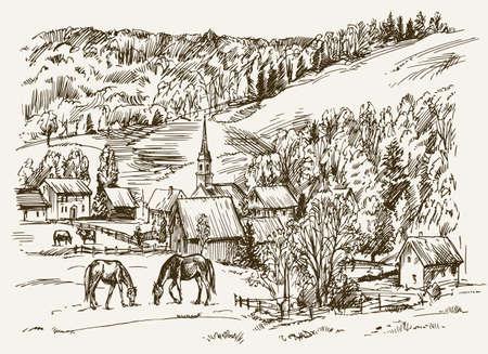 Vintage Blick auf New England Bauernhof mit Pferden und Kühe, Hand gezeichnet Vektor-Illustration. Illustration