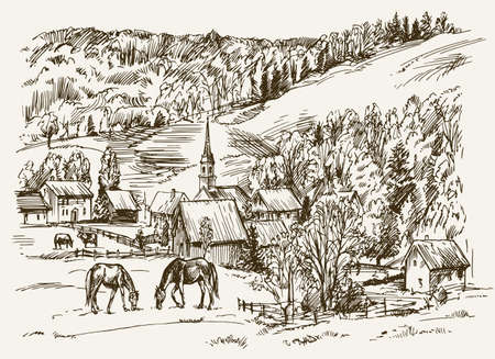 Vintage view of New England farm with horses and cows, hand drawn vector illustration. Illustration