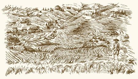 Rijstterrassen van Longsheng. Hand getekende illustratie. Vector Illustratie
