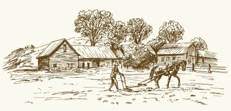 Ploughing the Field with Horse, barn on the background