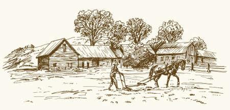 Ploegen van het veld met paard, schuur op de achtergrond