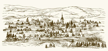 Landschaft Dorf Landschaft mit Kirche und Häuser. Hand gezeichnet Vektor-Illustration.