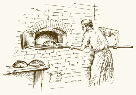 food: Baker taking out with shovel bread from the oven, vector illustration.