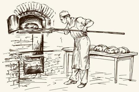 Bäcker mit Schaufel Brot aus dem Ofen, Vektor-Illustration. Illustration