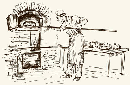 Baker taking out with shovel bread from the oven, vector illustration. Banco de Imagens - 77580414