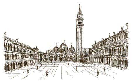 イタリア、ヴェネツィア、サン ・ マルコ広場。手描きのスケッチ。
