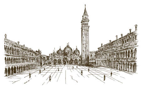 Italy, Venice, San Marco. Hand drawn sketch.