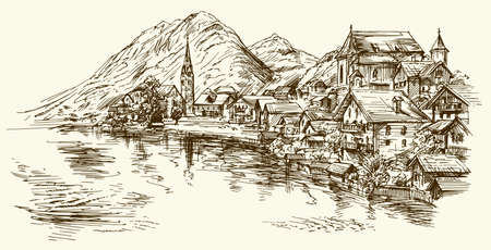 Austria, rural village. Hand drawn illustration.
