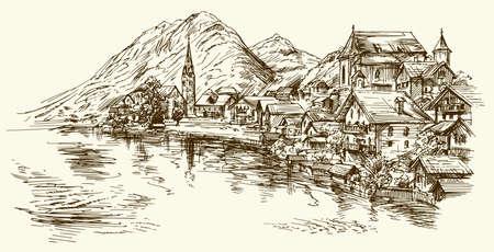 water: Austria, rural village. Hand drawn illustration.