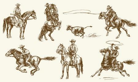 Cowboys. Set disegnato a mano. Archivio Fotografico - 77342406