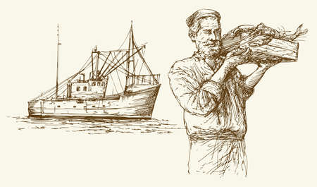 sinker: Fishing. Hand drawn set.