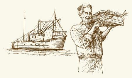 Pescar. Conjunto dibujado a mano.
