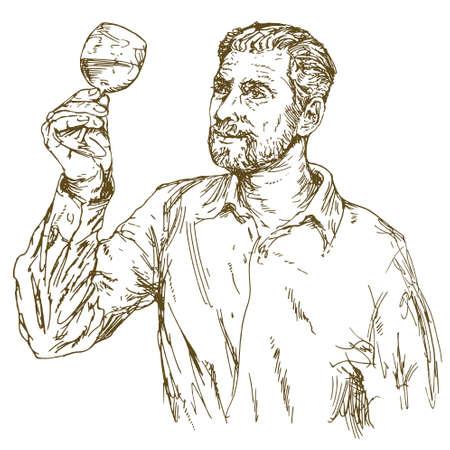 ワインメーカーテイスティングワイン。手描きイラスト。  イラスト・ベクター素材