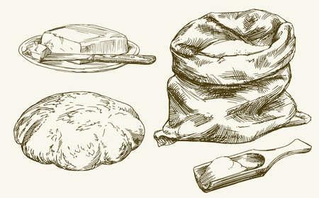 Terug met meel en schep, brood en boter. Hand getrokken set. Stock Illustratie