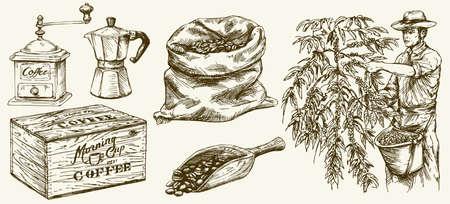 농부가 커피 콩을 따기. 캔버스 가방과 국자, 분쇄기. 손으로 그려진 된 집합입니다.