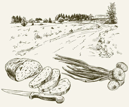 Bread and onion. Landscape on the background.