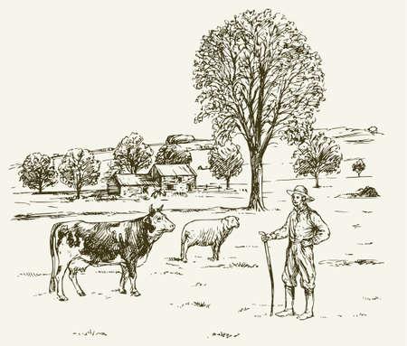 Boer met koe advertentie schapen, rurale landschap. Stock Illustratie