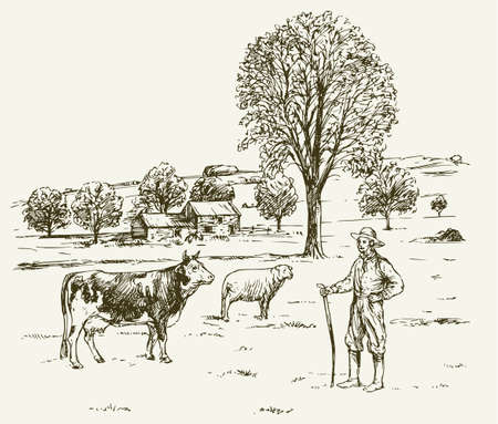Farmer with cow ad sheep, rural landscape.