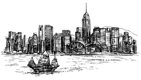 Hong Kong harbor, tourist junk. Hand drawn vector illustration. Çizim