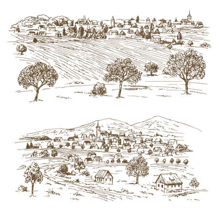 Two sets of rural landscape in hand drawn, sketched illustration.