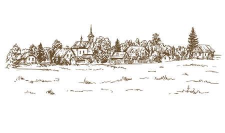 Rural landscape  in hand drawn, sketched illustration.