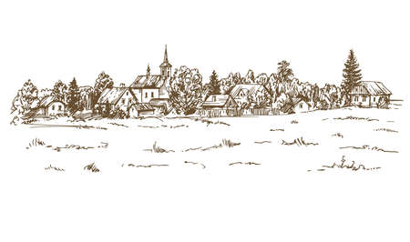 Rural landscape  in hand drawn, sketched illustration. Stok Fotoğraf - 88880601
