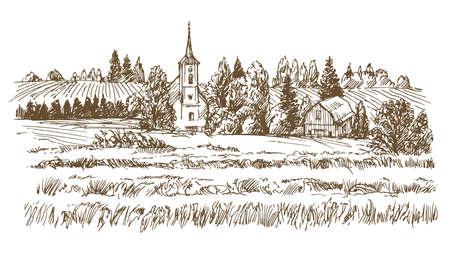 Illustrazione disegnata e abbozzata del paesaggio rurale a disposizione. Archivio Fotografico - 88880603