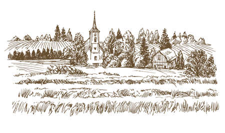 Rural landscape  in hand drawn, sketched illustration.