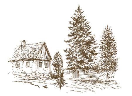 Landelijk landschapsconcept; huis en bomen in de hand getrokken, getekende illustratie.