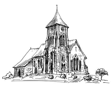 Country Church. Hand drawn illustration. Иллюстрация