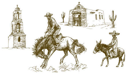 Cowboy rides his horse, Mexican desert. Ilustrace