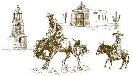 Cowboy rides his horse, Mexican desert. Illustration