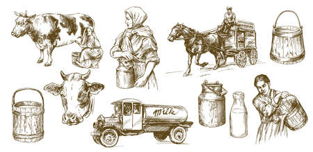 Cow, milk, dairy product. Set of hand drawn illustration. Illusztráció