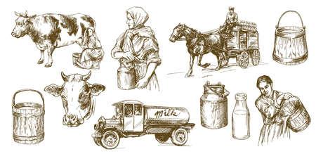 Koe, melk, zuivelproduct. Set van hand getrokken illustratie. Stockfoto - 94023532