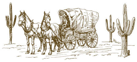 Western scenery with old wagon. Stock Illustratie
