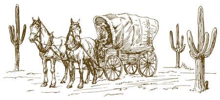 Zachodnia sceneria ze starym wagonem.