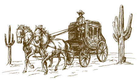Western scenery with old wagon. Ilustracja