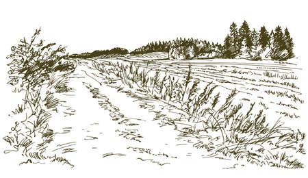 시골 풍경입니다. 손으로 그려진 된 집합입니다.