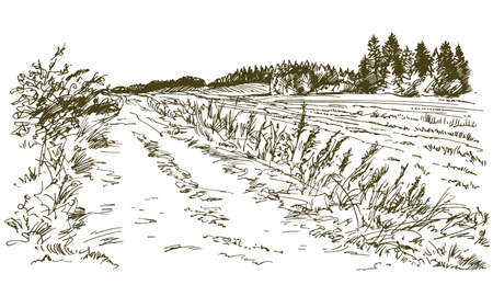 Rural landscape. Hand drawn set. Vectores