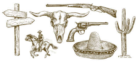 Wild West element icon set illustration.