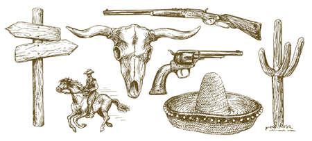 Wild West element icon set illustration.